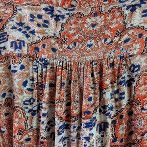 Lucky Brand Tops - Lucky Brand Orange Blue Boho Style Blouse Sz M